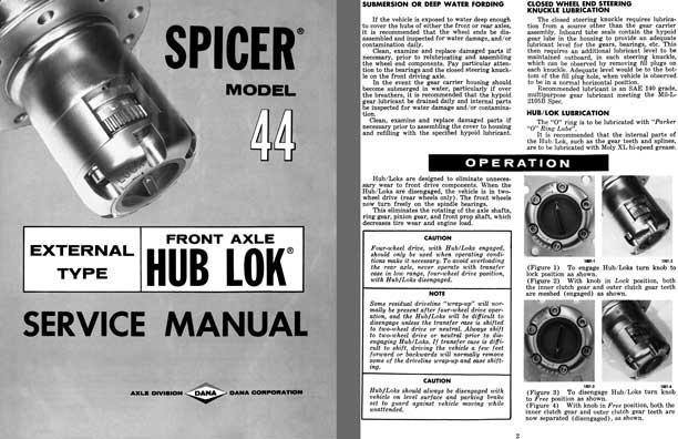 Dana Spicer c1970 - Spicer Model 44 External Type Front Axle Hub Lok Service Manual