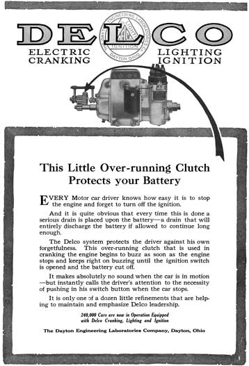 Delco 1915 - Delco Ad - Delco Electric Cranking, Lighting Ignition - This Little Over-running Clutch