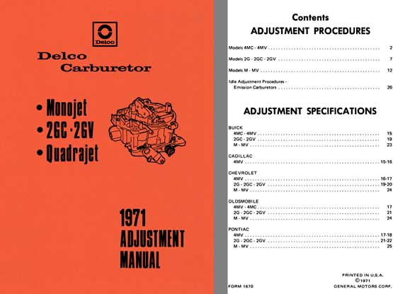 Delco Carburetor 1971 - Delco 1971 Adjustment Manual (Monojet, 2GC - 2GV, Quadrajet)