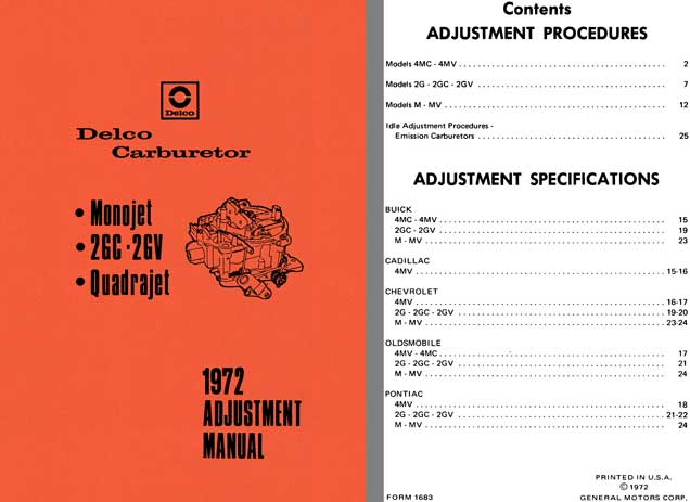 Delco Carburetor 1972 - Delco 1972 Adjustment Manual (Monojet, 2GC - 2GV, Quadrajet)