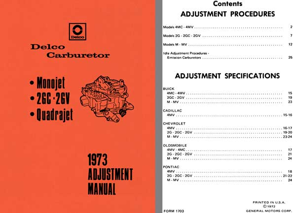 Delco Carburetor 1973 - Delco 1973 Adjustment Manual (Monojet, 2GC - 2GV, Quadrajet)