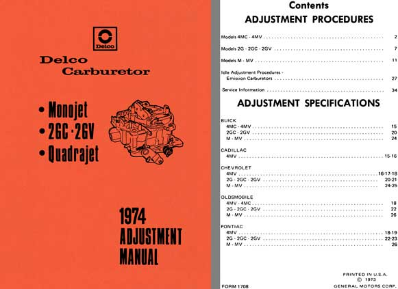 Delco Carburetor 1974 - Delco 1974 Adjustment Manual (Monojet, 2GC - 2GV, Quadrajet)