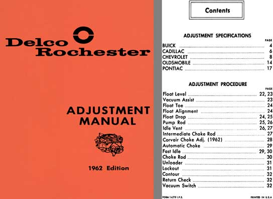 Delco Rochester 1962 - Delco Rochester Adjustment Manual 1962 Edition