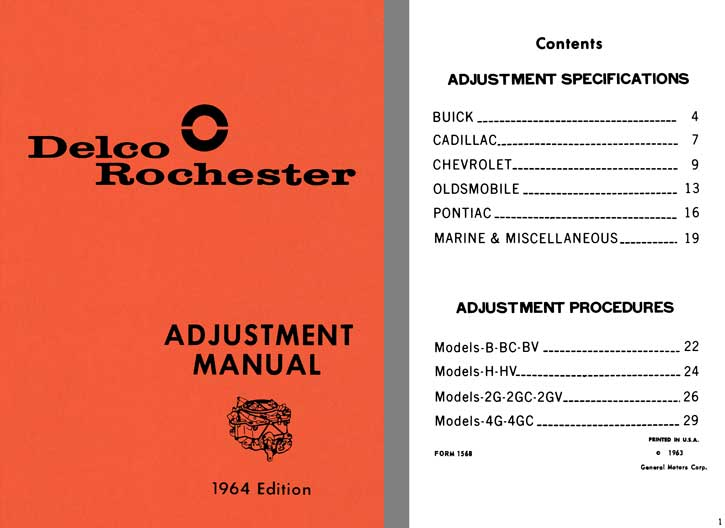 Delco Rochester 1964 - Delco Rochester Adjustment Manual 1964 Edition