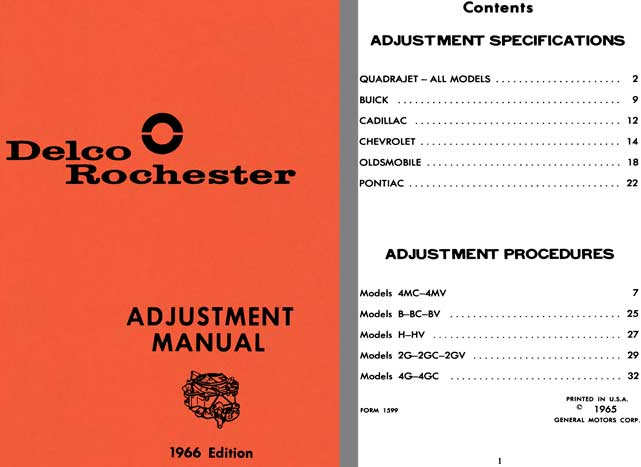 Delco Rochester 1966 - Delco Rochester Adjustment Manual 1966 Edition