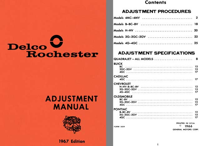 Delco Rochester 1967 - Delco Rochester Adjustment Manual 1967 Edition