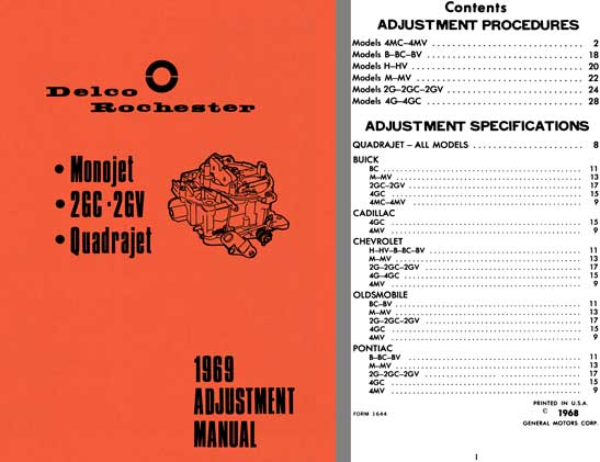 Delco Rochester 1969 - Delco Rochester 1969 Adjustment Manual (Monojet, 2GC - 2GV, Quadrajet)