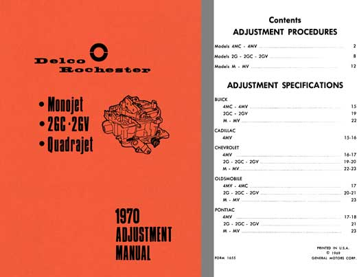 Delco Rochester 1970 - Delco Rochester 1970 Adjustment Manual (Monojet, 2GC - 2GV, Quadrajet)