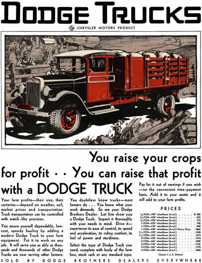 Dodge 1929 - Dodge Trucks Ad - You raise your crops for profit.. You can raise that profit with a