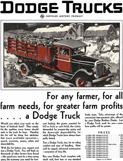 Dodge 1929 - Dodge Trucks Ad - For any farmer, for all farm needs, for greater farm profits… A Dodge