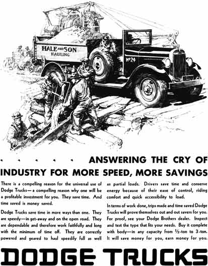 Dodge 1930 - Dodge Trucks Ad - Answering the Cry of Industry for More Speed, More Savings