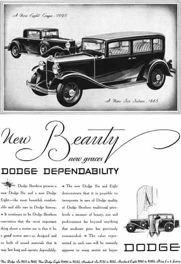 Dodge 1931 - Dodge Ad - New Beauty now graces Dodge Dependability - New Eight Coupe & Six Sedan