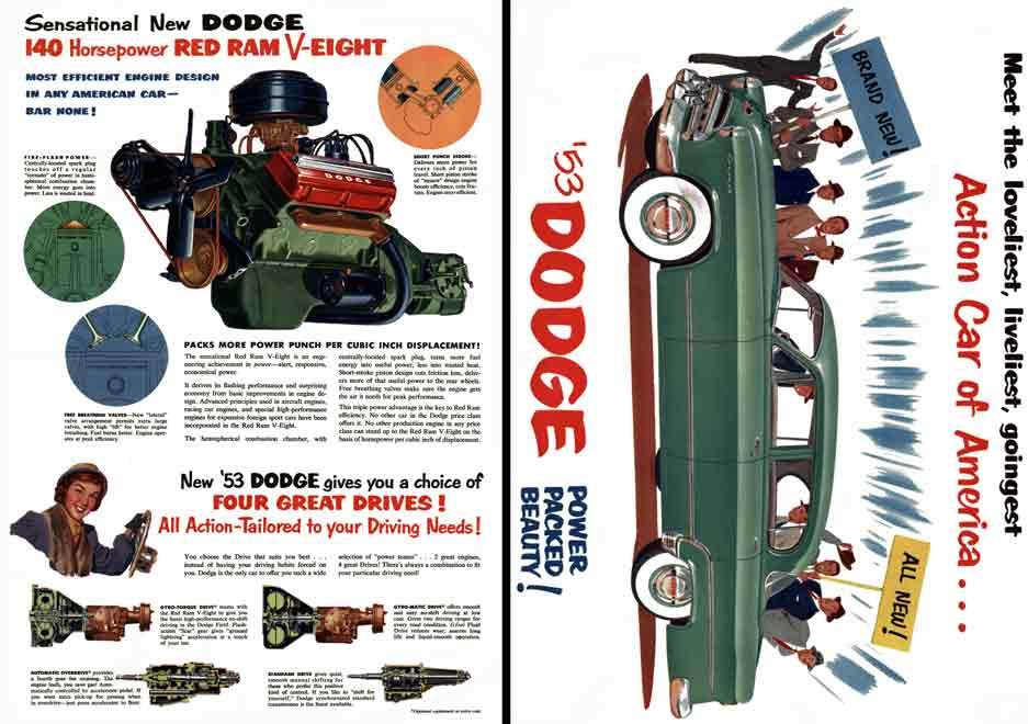Dodge 1953 - '53 Dodge Power Packed Beauty!, Action Car of America - Meet the loveliest, liveliest