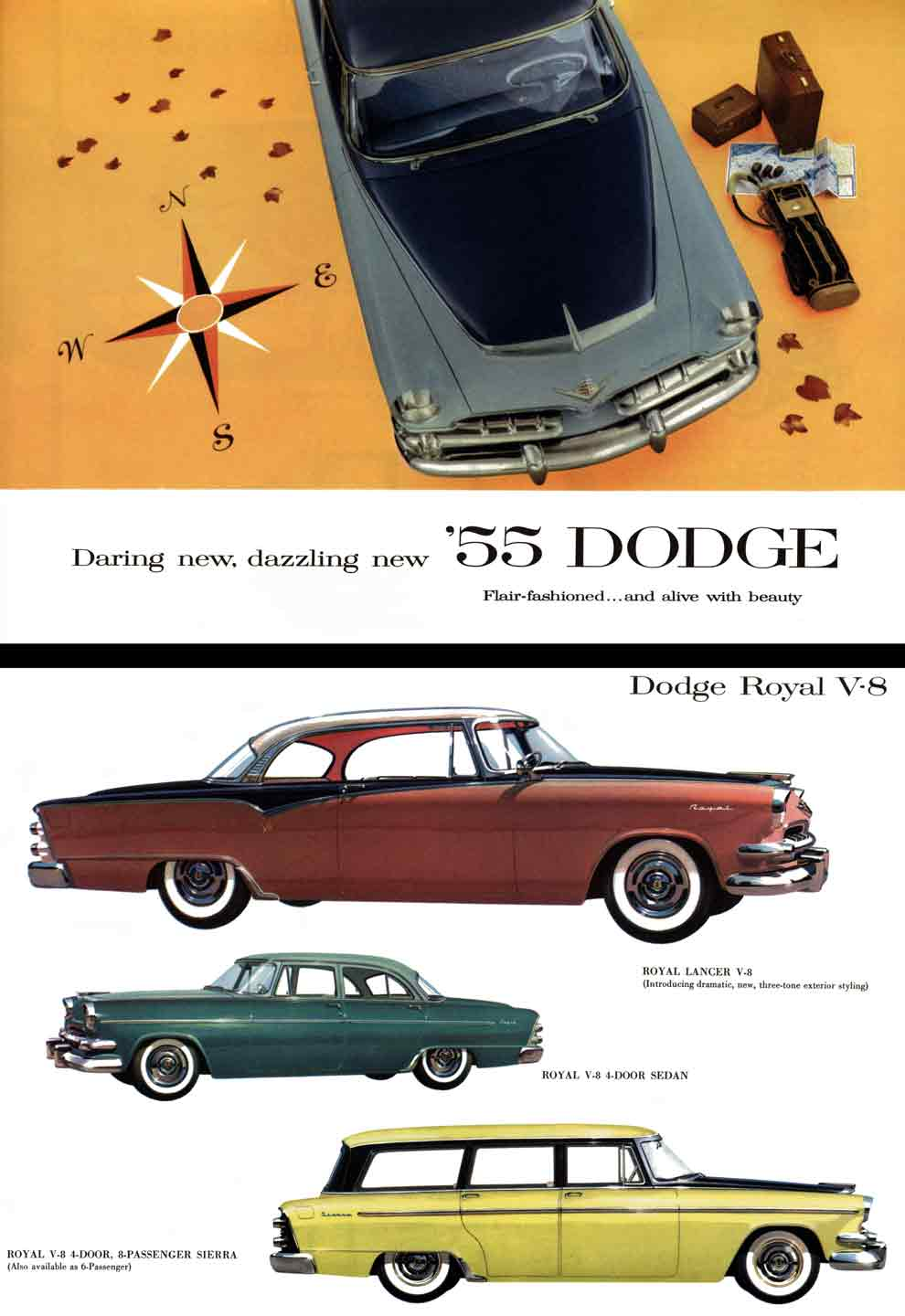 Dodge 1955 - Daring new, dazzling new '55 Dodge - Flair-fashioned and alive with beauty