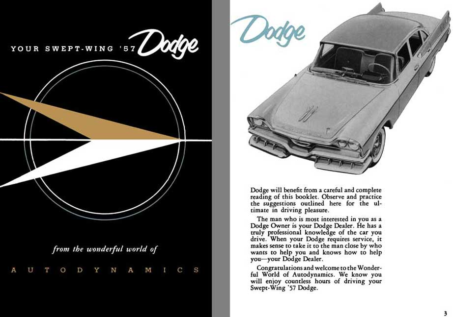 Chrysler Corp - Dodge 1957 Swept-Wing Owner's Manual - Your Swept-Wing '57 Dodge from the wonderful