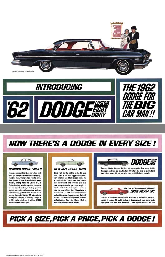 Dodge 1962 - Introducing '62 Dodge Custom Eighty Eight - The 1962 Dodge For The Big Car Man!!