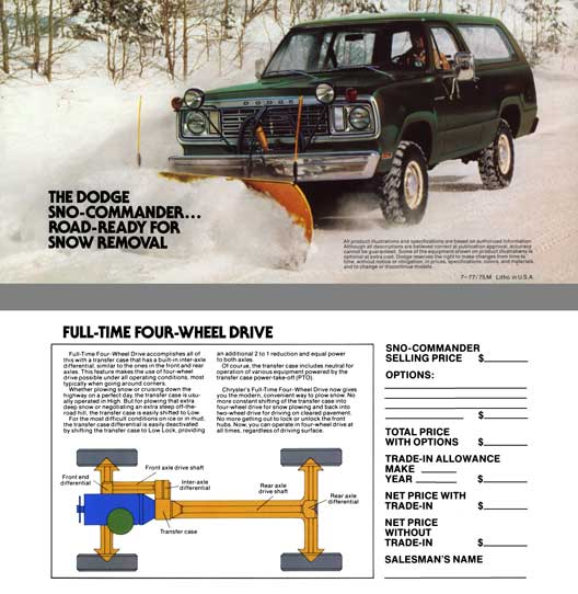 Dodge 1976 - The Dodge Sno-Commander… Road-Ready for Snow Removal