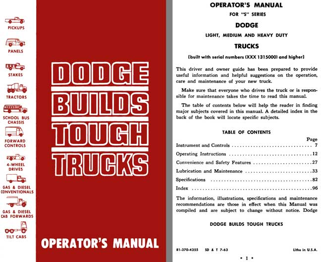 Dodge S-Series Trucks 1963 - Dodge Builds Tough Trucks Operator's Manual 1963