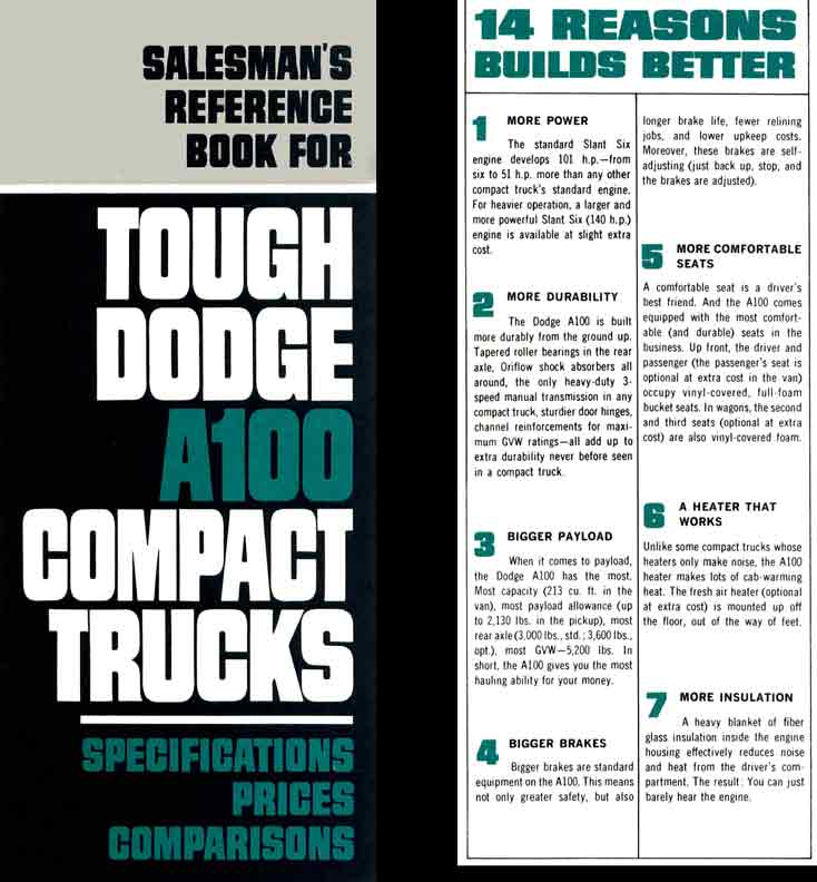 A100 Compact Trucks Dodge 1964 - Salesman's Reference Book 1964