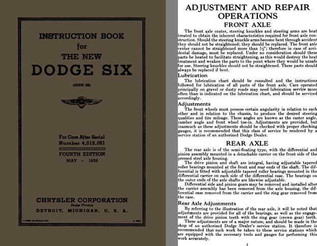 Chrysler Dodge Six 1936 - Instruction Book for The New Dodge Six