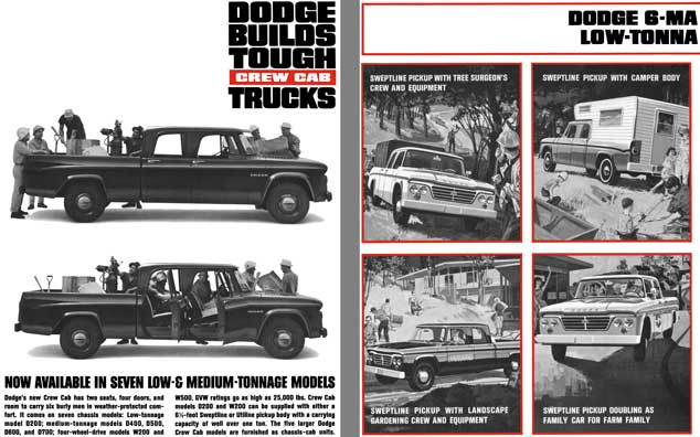 Dodge Trucks 1963 - Dodge Builds Tough Crew Cab Trucks - Now Available in Seven Low& Medium Tonnage