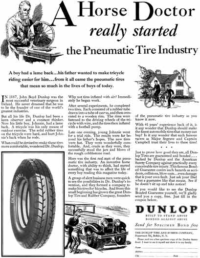 Dunlop Tire 1929 - Dunlop Tire Ad - A Horse Doctor really started the Pneumatic  Tire Industry