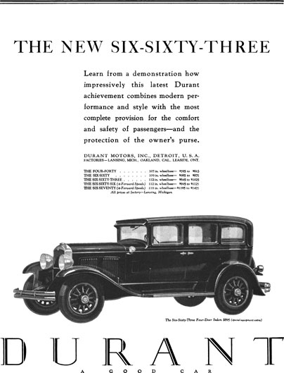 Durant 1929 - Durant Ad - The New Six-Sixty-Three