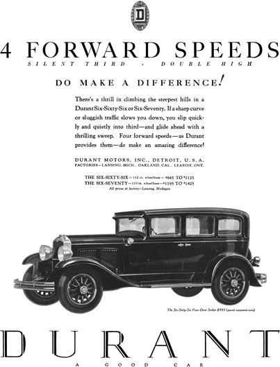 Durant 1929 - Durant Ad - 4 Forward Speeds, Silent Third, Double High - Do Make a Difference!