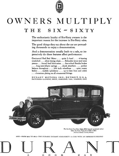 Durant 1929 - Durant Ad - Owners Multiply - The Six-Sixty