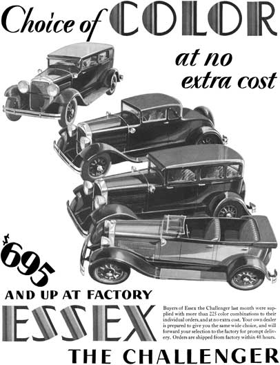 Essex 1929 - Essex Ad - Choice of Color at no extra cost - Essex the Challenger