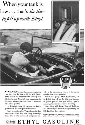 Ethyl 1929 - Ethyl Gasoline Ad - When your tank is low… that's the time to full up with Ethyl