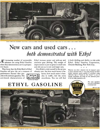 Ethyl 1930 - Ethyl Ad - New cars and used cars… both demonstrated with Ethyl