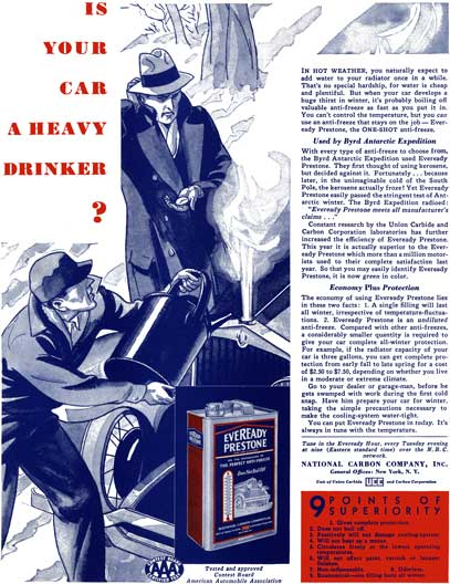 Eveready Prestone c1932 - Eveready Ad - Is Your Car a Heavy Drinker?
