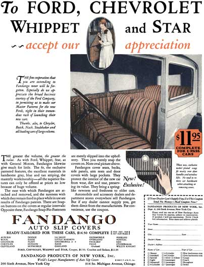 Fandango 1928 - Fandango Ad - To Ford, Chevrolet, Whippet and Star ~~ accept our appreciation