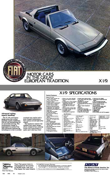 Fiat c1978 - Fiat X1/9  Spec Sheet - Fiat Motor Cars in the Great European Tradition