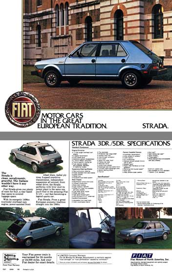 Fiat c1979 - Fiat Strada - Spec Sheet - Motor Cars in the Great European Tradition