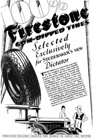 Firestone 1929 - Firestone Tire Ad - 100% Firestone Gum-Dipped Tires - Selected Exclusively for…