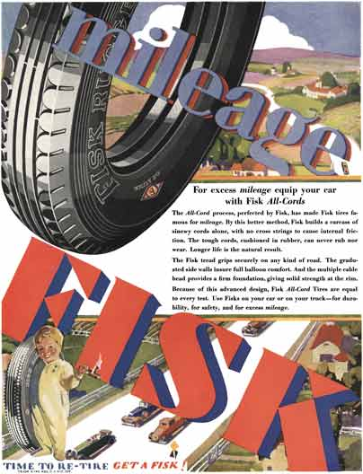 Fisk Tire 1929 - Fisk Tire Ad - For excess mileage equip your car with Fisk All-Cords