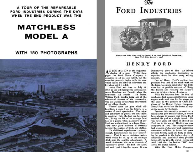 Ford 1929 - Matchless Model A with 150 Photographs