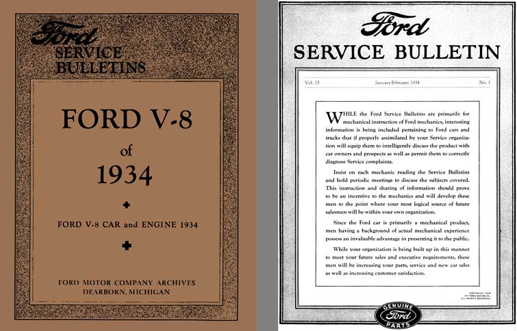Ford 1934 - Ford Service Bulletins Ford V-8 of 1934 - Ford V-8 Car and Engine 1934