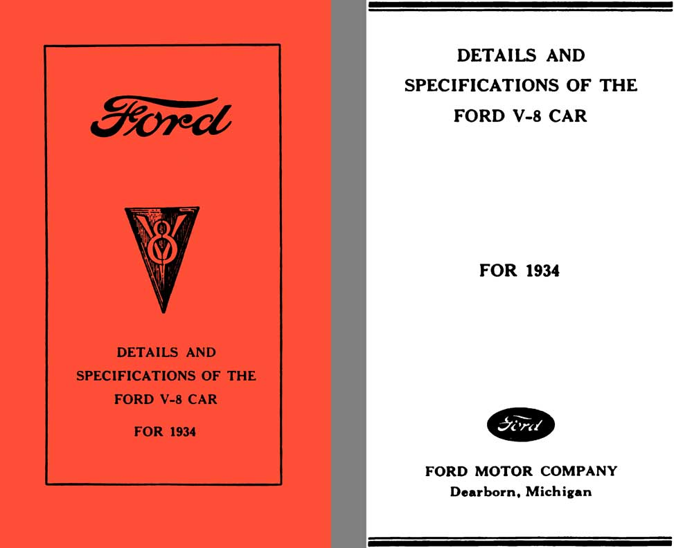 Ford 1934 - Ford V8 Details and Specifications of the Ford V-8 Car for 1934 - Restore's Guide