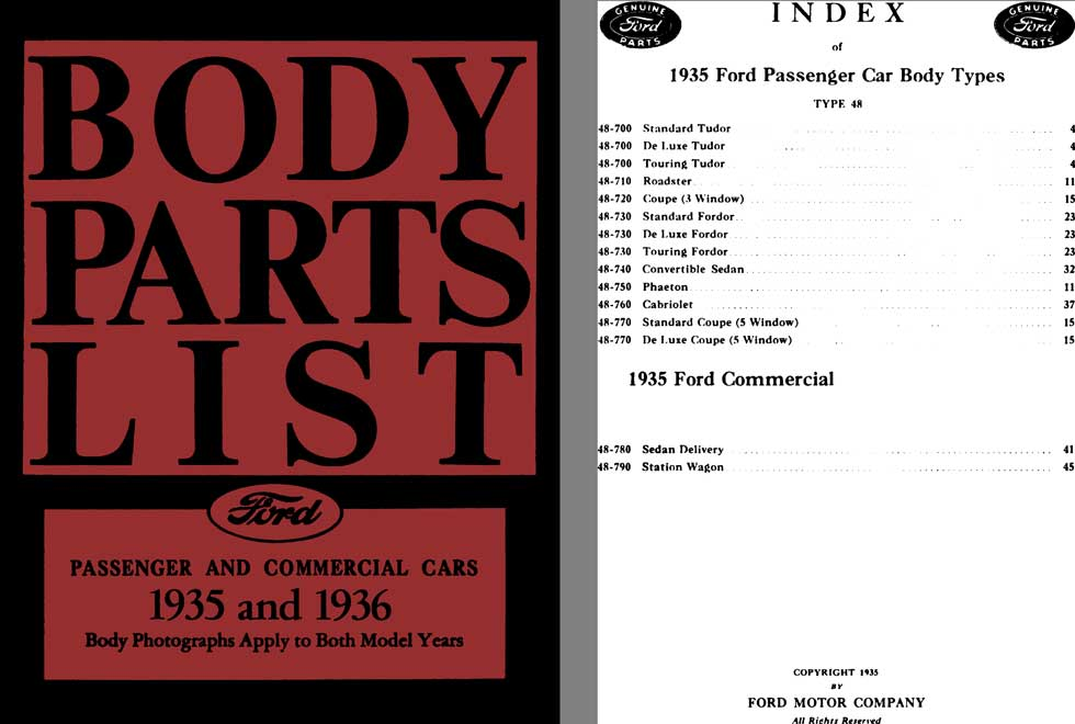 Ford 1935 & 1936 Body Parts List Passenger & Commercial Cars