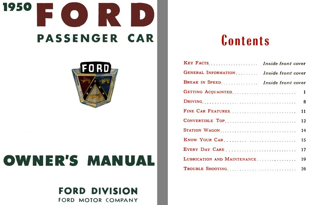 Ford 1950 - 1950 Ford Passenger Car Owner's Manual