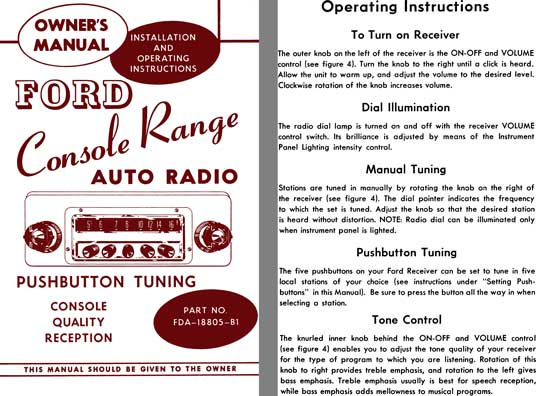 Ford 1954 - Ford Console Range Auto Radio Owner's Manual