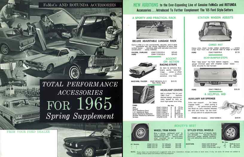 Ford 1965 FoMoCo & Rotunda Accessories - Total Performance Accessories 1965 Spring Supplement