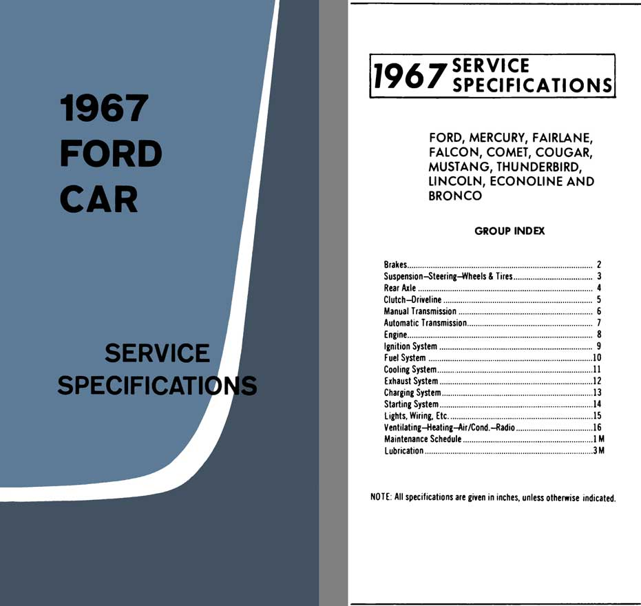 Ford 1967 - 1967 Ford Car Service Specifications