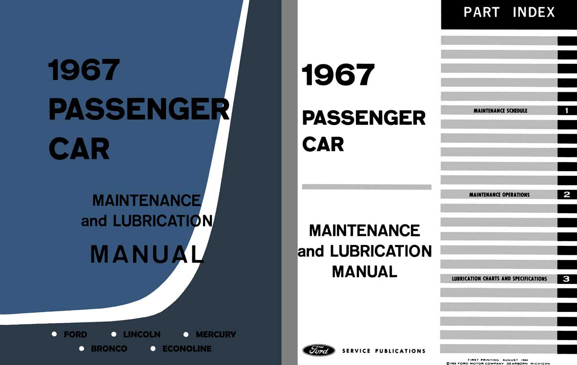 Ford 1967 - 1967 Passenger Car - Maintenance & Lubrication Manual