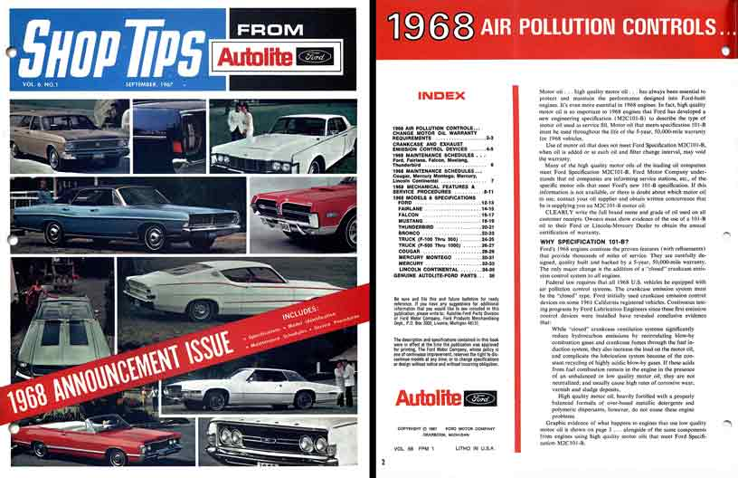 Autolite Shop Tips - Sep 1967,  vol 6, no 1 - 1968 Announcement Issue - Ford 1968