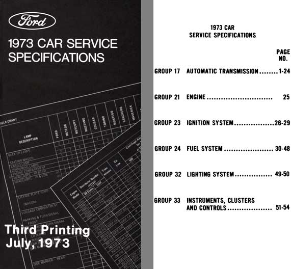 Ford 1973 - Ford 1973 Car Service Specifications (Third Printing July 1973)