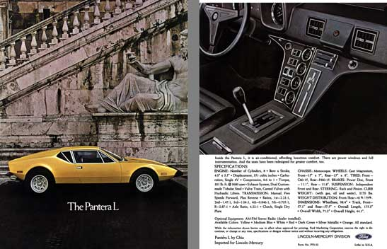 regress press llc automobile catalogs between1970and1979 ford 1973 ghia pantera l s brochure